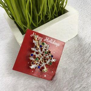 Jewelry - Christmas Tree Pin Brooch  Happy Holidays